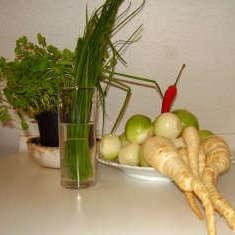 Zutaten für Zwiebelgemüse